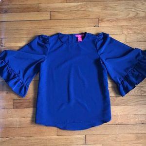 Ruffle-sleeve blouse